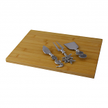 CHEESE BOARD W/ 3PC UTENSIL SET, SILVER NAUTICAL