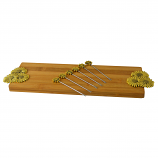 CHEESE BOARD W/ 6 PICKS, GOLD FLOWERS