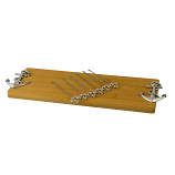 CHEESE BOARD W/ 6 PICKS, SILVER ANCHOR