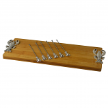 CHEESE BOARD W/ 6 PICKS, SILVER LOBSTER