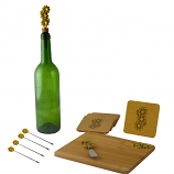 11-PC WINE & CHEESE SET, GOLD FLOWERS