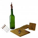 CHEESE BOARD W/ 6 PICKS, COPPER BOTTLE & CUP