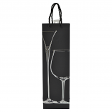 "14"" WINE BAG, SILVER CHAMPAGNE & WINE GLASS"