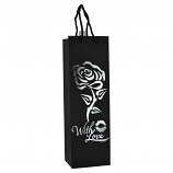 "14"" WINE BAG, SILVER FLOWER WITH LOVE"