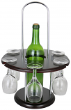 16X11 ROUND WINE BOTTLE & 6 GLASS HOLDER