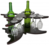 8X17X12 BUTTERFLY SHAPED 2 WINE BOTTLE & 4 GLASS HOLDER
