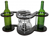 8X20X10 MUSICAL KEY SHAPED 2 WINE BOTTLE & 4 GLASS HOLDER