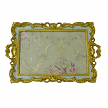17X11 GOLD & BLUE TRAY W/ HANDLES
