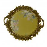 "17"" ROUND GOLD TRAY W/ HANDLES"