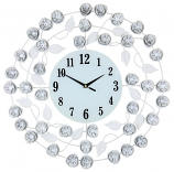 "21"" ROUND WALL CLOCK W/ WHITE FLOWERS"