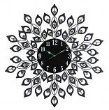 "28"" ROUND BLK PEACOCK FEATHER STYLE WALL CLOCK"