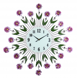 "27"" ROUND PURPLE DAISY WALL CLOCK"