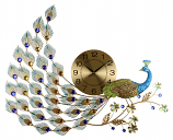 31X24 PEACOCK WALL CLOCK