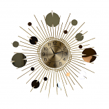"27"" ROUND GOLD CLOCK W/ COPPER & SILVER CIRCLES"