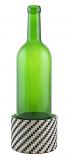 DECORATED WINE COASTER, CHECKERED SILVER & BLACK