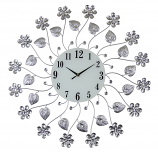 "27"" ROUND WALL CLOCK, SILVER FLOWERS"