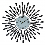 "24"" ROUND WALL CLOCK, BLACK DROPLETS"