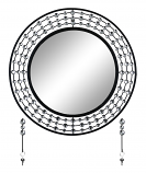 "24"" WALL MIRROR WITH KEY CHAIN HOOKS, SILVER & BLACK"