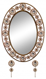 30X21 OVAL WALL MIRROR W/ KEY CHAIN HOOKS, COPPER FINISH