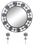 "24"" ROUND WALL MIRROR W/ KEY CHAIN HOLDERS, SILVER & BLK FLORAL"