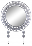 "24"" ROUND WALL MIRROR With KEY CHAIN HOLDERS, SILVER FEATHERS"