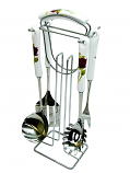 4-PC KITCHEN SET W/HOLDER RED ROSE