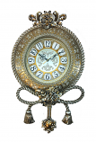 26x16x4 GOLD/SLV WALL CLOCK W/ ROPES AND TASSELS